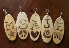 Personalized wood burn pendant. $5,00, via Etsy.