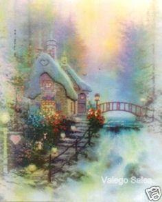 Thomas Kinkade Embellished #crossstitch Sweetheart Cottage II #DIY #crafts #decor #needlework #stitching #gift #madeinusa