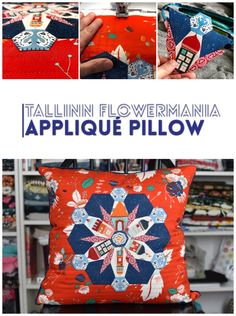 Tallinn Flowermania Appliqué Pillow - English Paper Piecing, Sewing & Quilting Modern Pillows, Diy Pillows, Weaving Projects, Quilting Projects, Applique Tutorial, Applique Pillows, Pillow Inspiration, Art Gallery Fabrics, English Paper Piecing