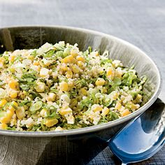 Quinoa, Corn, and Mint Salad Recipe - Mint adds a flavorful twist to this colorful quinoa salad. Serve with a grilled main dish to savor the sweet taste of summer. Best Quinoa Recipes, Healthy Salad Recipes, Summer Recipes, Vegetarian Recipes, Summer Side Dishes, Best Side Dishes, Mint Salad, Quinoa Salad, Spring Salad
