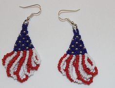 db1140 - Handmade patriotic red, white and blue earrings by dbDabblings on Etsy