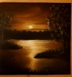 Sunset Silhouette, Mini Paintings, Oil On Canvas, Celestial, Outdoor, Outdoors, Painted Canvas, Outdoor Games