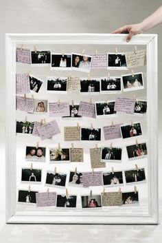 DIY wedding guestbook frame with instant pictures