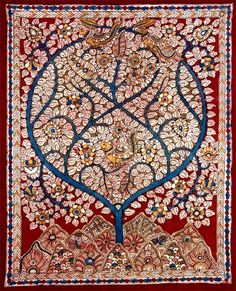 Tree of Life painting on cloth, Madhubani style, India