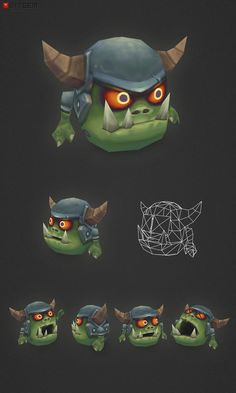 Micro Orc Gronk  This is Gronk, a low poly micro Orc! He is fully rigged and comes with an idle animation (frame 01-60). Gronk managed to roll his brain out of his ear once as a party trick… now he is wearing a helmet so it doesn't happen again. I think he forgot to put it back in though…