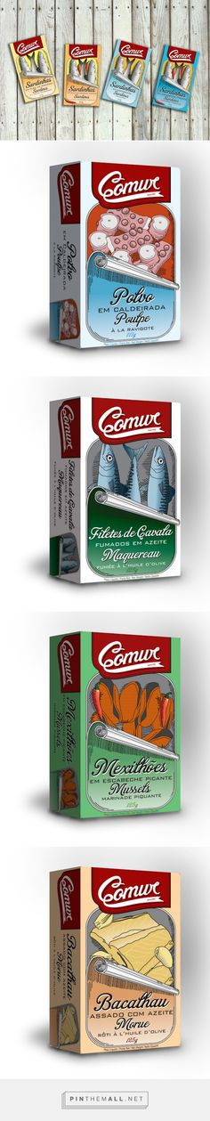 Comur canned fish by Ana Lucas. Pin curated by Vintage Packaging, Pretty Packaging, Food Packaging, Brand Packaging, Design Packaging, Design Thinking Process, Fish Design, Packaging Design Inspiration, Design Reference