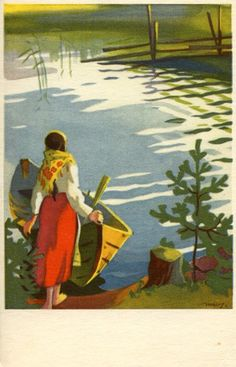 Martta Wendelin was a Finnish artist whose work was widely used to illustrate fairy tales and books, postcards, school books, magazine and book covers. Vintage Postcards, Vintage Images, Vintage Cards, Vintage Illustration, Art Thou, Black And White Pictures, Whimsical Art, Illustrations And Posters, Christmas Art