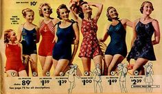 The new swimsuits are in!  vintage swimwear from National Bella Hess catalog (1938)
