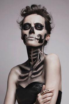 terrible makeup look halloween skeleton makeup idea - Halloween Skeleton Makeup Ideas