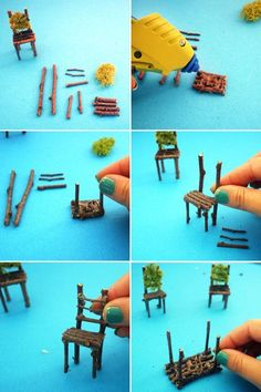How to Create a Neon Terrarium with Twig Fairy Table and Chairs DIY / Indoor Gar. How to Create a Neon Terrarium with Twig Fairy Table and Chairs DIY / Indoor Gardening / Garden / Succulents by esther Mini Fairy Garden, Fairy Garden Houses, Fairies Garden, Diy Fairy House, Gnome Garden, Fairy Garden Furniture, Twig Furniture, House Furniture, Fairy Village