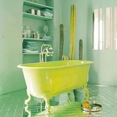 71 Inspiring Green Bathroom Design Ideas: 71 Inspiring Green Bathroom Design Ideas With Green Bathtub And Wooden Cabinet And Ceramic Floor And Wall Mirror Yellow Bathroom Decor, Yellow Bathrooms, Bright Bathrooms, Bathroom Colours, Bathroom Yellow, Bathroom Photos, Small Bathroom, Bathroom Ideas, Funky Bathroom