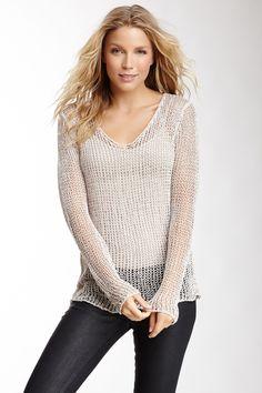 Open Knit Scoop Neck Sweater Black sparkle yarn?