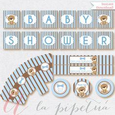 Bear Babyshower printables. Instant download. Printable. Bear Babyshower. Teddy bear babyshower. Bear babyshower.