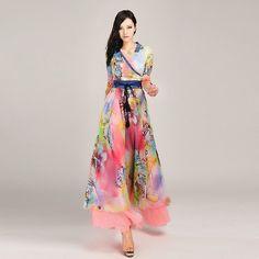Exquisite High Waist Wide Swing Print Long Sleeve Dresses