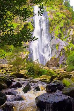 Powerscourt Waterfall, County Wicklow Travel to Ireland without ever leaving home.  http://irelandofthewelcomes.com/home/subscribe/