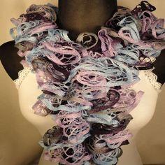Lavender/Blue Ruffle Scarf - Crocheted Scarf - Ruffle Scarves - Ladies Ruffle Scarf - Ruffled Scarf in Blue by HappyNanaba, $9.00 USD