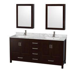 Wyndham Collection Sheffield 72 in. Double Vanity in Espresso with Marble Vanity Top in Carrara White and Medicine Cabinets