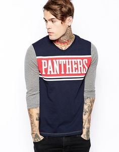 ASOS+3/4+Sleeve+T-Shirt+With+Panthers+Print+And+V+Neck
