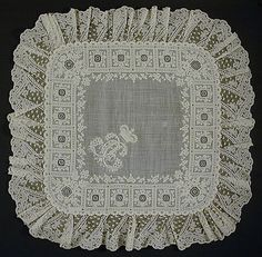 Belgium, Western Flanders  Handkerchief, 19th century  Lace; Costume/clothing accessory/carried, Linen plain weave, cotton Valenciennes d'ypres bobbin lace, cotton embroidery, 20 1/8 x 20 in. (51.12 x 50.8 cm)  lacma.org