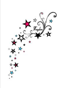 A thought -- no pink/blue but maybe color or just black/white? Like for my wrist and stars going down under arm or shoulder