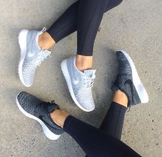 fitness outfit gear inspiration: black leggings tights, grey nike shoes, black nike shoes