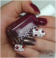 Fall skittlette manicure with Essie Bahama Mama