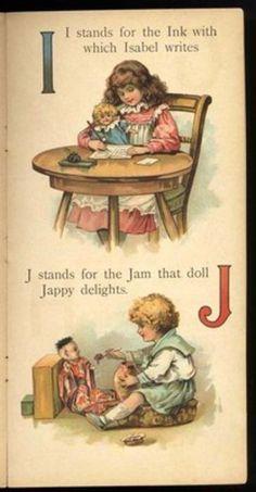 "I-J ~ Vintage children's book illustration by Frances Brundage from ""Dollyland ABC"", ca. early 1900s (pg. 3/5)"