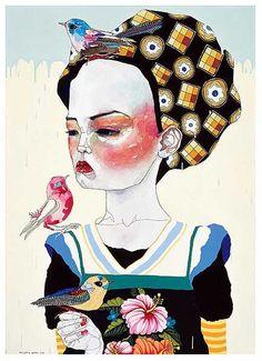untitled girl 2005 DEL KATHRYN BARTON synthetic polymer paint, gouache, watercolour & ink on polyester canvas x cm Australian Painting, Australian Artists, Del Kathryn Barton, What Is Contemporary Art, Pretty Art, Whimsical Art, Community Art, Oeuvre D'art, Figurative Art