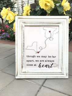 Though we may be far apart, we are always close at heart This frame is perfect for that person who is close in your heart, but lives far away. A perfect gift for parents, grandparents, siblings, partners, friends, etc. ------------------------------------------------------------ This