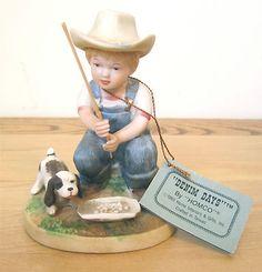 Home Interior Denim Days 1504 Boy Fishing After The Chores Figurine w Tag | eBay