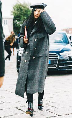 Beret + Oversize Coat + Skinny Jeans + Boots