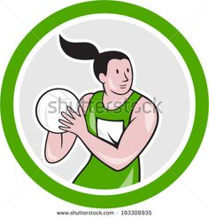 Illustration of a netball player catching rebounding ball set inside circle on isolated white background done in cartoon style. #netball #cartoon #illustration