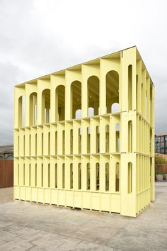 a vehicle to a collection of bricks that speaks of a city as a work in progress: Yellow Pavilion by Hall McKnight Architects for the London Festival of Architecture 2015