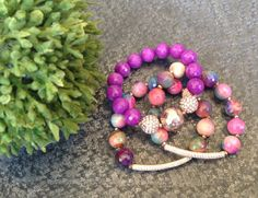 Fire Agate and Rose Gold Triple Stretch by JewelrybyKellyWalker