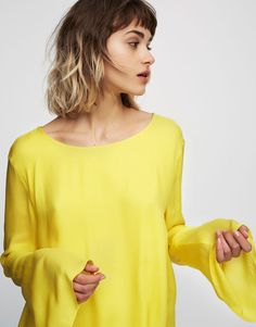 Pull&Bear - mujer - ropa - blusas y camisas - cuerpo detalle corsario espalda - amarillo - 05471360-V2017