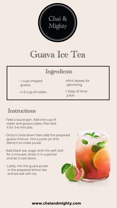A simple and refreshing recipe of ice tea made with fresh and ripe guavas is the perfect drink for your hot, summer days. With a few simple steps you can get the flavour of guavas with the benefits of tea! Non Alcoholic Drinks, Beverages, Cocktails, Smoothie Drinks, Smoothies, Yummy Drinks, Healthy Drinks, Best Tea Brands, Herbal Tea Benefits