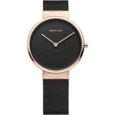 Bering Time - Classic - Ladies Rose Gold Plated & Black Milanese Mesh... ($189) ❤ liked on Polyvore featuring jewelry, watches, rose gold plated jewelry, black face watches, mesh watches, water resistant watches and black dial watches