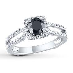 Diamond Engagement Ring 1 1/5 cts Black/White 14K White Gold