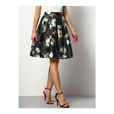 SheIn(sheinside) Black Florals Flare Skirt With Elastic Waist (24 AUD) ❤ liked on Polyvore featuring skirts, multi, patterned skater skirt, print skirt, short circle skirt, floral circle skirt and flare skirt