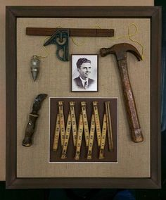 A striking collection of vintage carpentry tools from the with burlap backing in a rustic wooden shadowbox frame. The shadowbox honors a grandfather who was a carpenter by trade. A wonderful way to display and preserve cherished keepsakes. Vintage Tools, Vintage Crafts, Antique Tools, Shadow Box Memory, Shadow Box Frames, Wooden Shadow Box, Memory Crafts, Keepsake Crafts, Keepsake Boxes