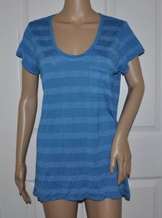 NEW Calvin Klein Blue Stripe Short-Sleeve Scoopneck Top Women's L   CLEARANCE #CalvinKleinJeans #KnitTop