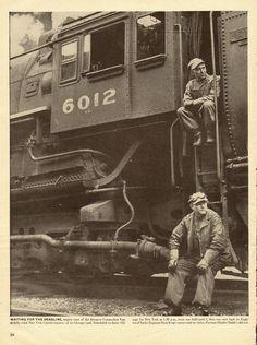 Engine crew waits for U.S. Railroad Strike in 1946