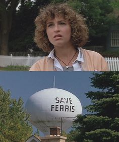 """Jennifer Grey as put upon Jeannie Bueller, sister of Ferris.  And notice the """"Save Ferris"""" sign on the water tower, which served as inspiration for the Indy band of the same name.  1986"""