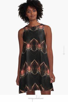 'Perception' - Digital Art Abstract by Menega Sabidussi @redbubble Women Casual Designer Print Clothing #dress #clothing #apparel #pattern #wearableart #dresses #fashion #aline #black #red #redbubble