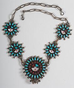 zuni sun face pin | Lot # 123 - S. Bowanie Zuni Turquoise Needlepoint Necklace
