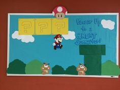 My door tags and my bulletin board, Mario theme! Unique Bulletin Board Ideas, Dorm Bulletin Boards, Nurse Bulletin Board, Elementary Bulletin Boards, Preschool Bulletin, School Decorations, School Themes, Classroom Themes, Ra Themes