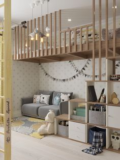 What an adorable space for kids! This would be perfect in a house with tall ceilings or a basement. It's good to create a space where they can be kids but it's also nice when it looks mature and presentable. Not all kids things need to be bright colors to be fun.