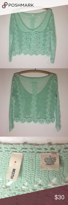 Anthropologie Moth Crochet Style Cardigan Anthropologie Moth Crochet style Cardigan. Super adorable!! 100% cotton. Preloved. Size Small. If you have any questions please ask before buying. :) *Colors may vary slightly from pictures* Anthropologie Sweaters Cardigans