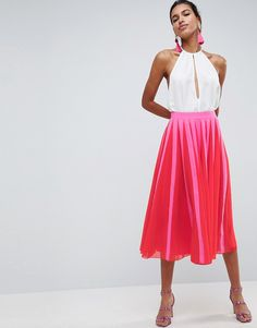 ASOS Pleated Midi Skirt with Color Block Stripe - Pink