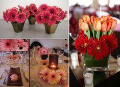 centro de mesas con flores gerberas - Buscar con Google
